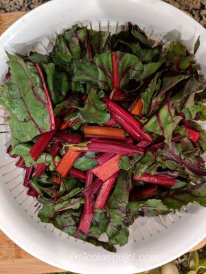 Cut and rinse beet greens