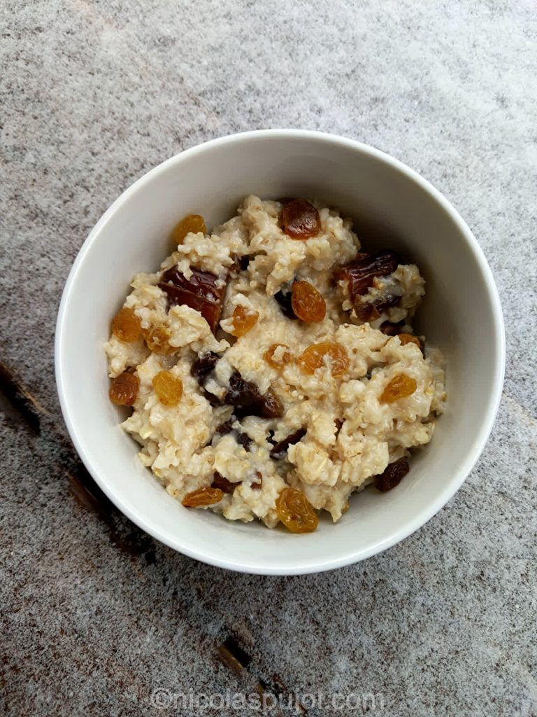 Dry fruits oatmeal breakfast bowl