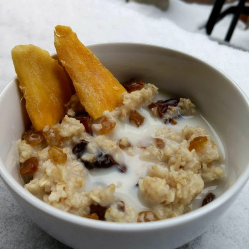 Dry fruits oatmeal (dates, prunes, apricots, raisins, mango)