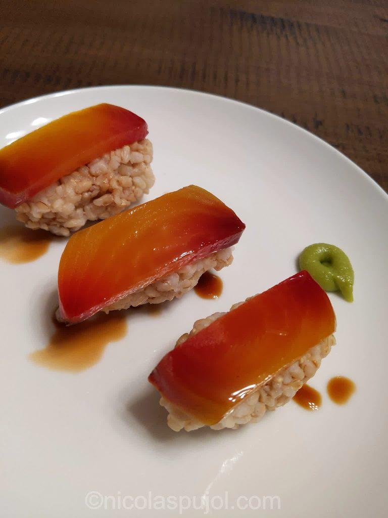 Golden beets nigiri sushi