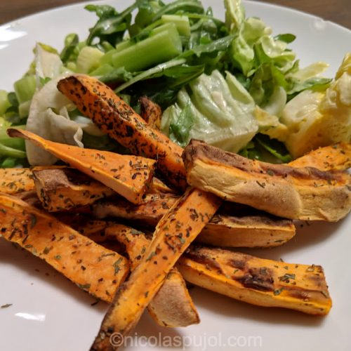 Greens with sweet potato fries without oil