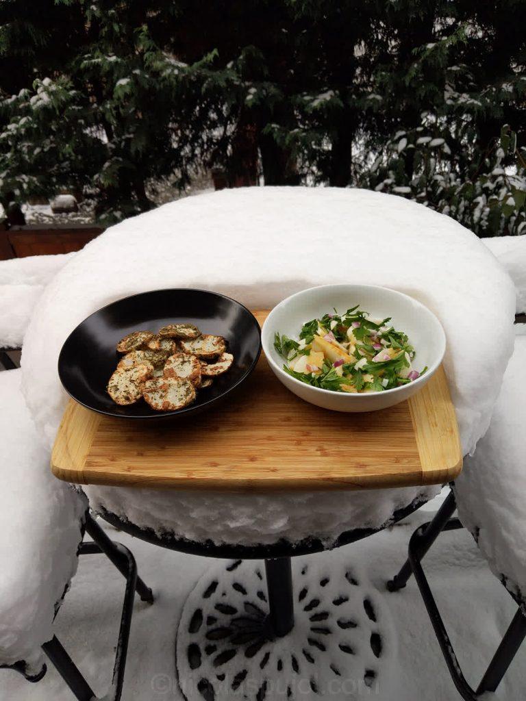 Nagaimo mountain potato appetizers served on snow