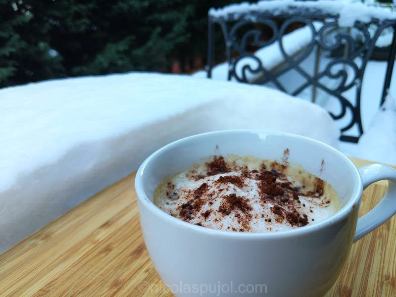 Plant-based cappuccino for a cold winter day