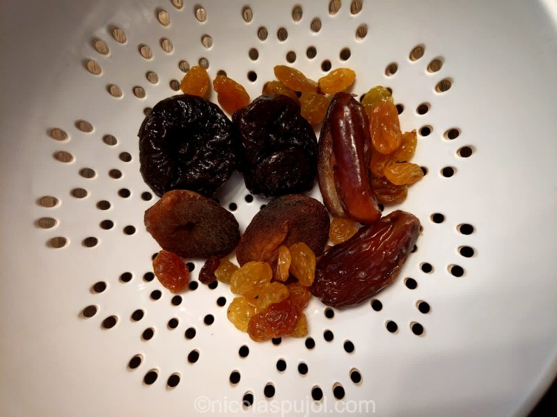 Prunes, raisins, dates, dry apricots for oatmeal