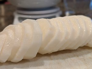 Slimy and sliced nagaimo yam from Japan
