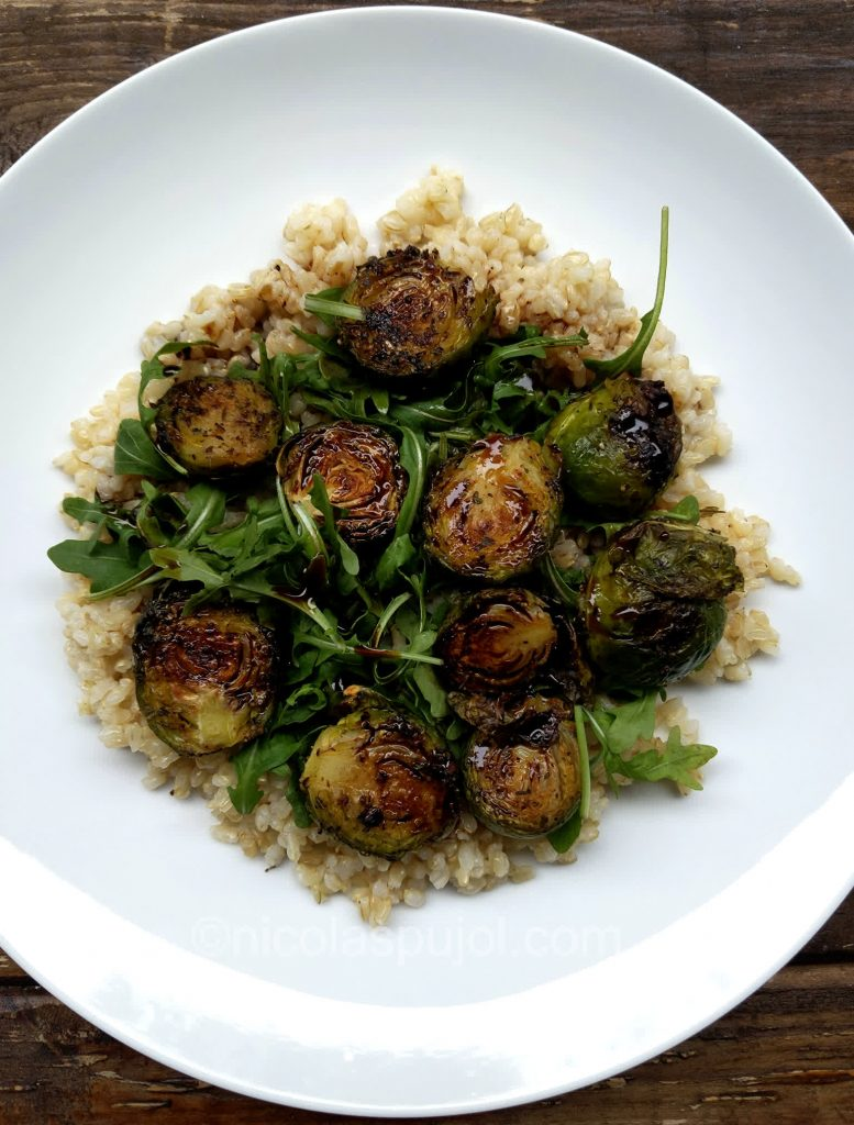 Spicy Brussels sprouts on bed of arugula and brown rice