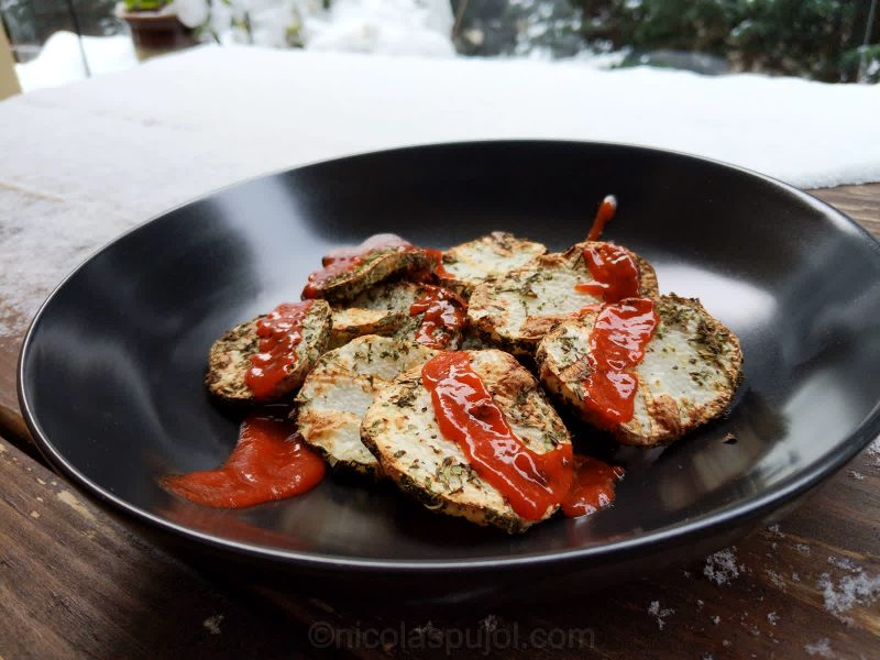 Spicy Japanese mountain potato fries with herbs