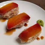 Vegan sushi with golden beets brown rice and soy sauce