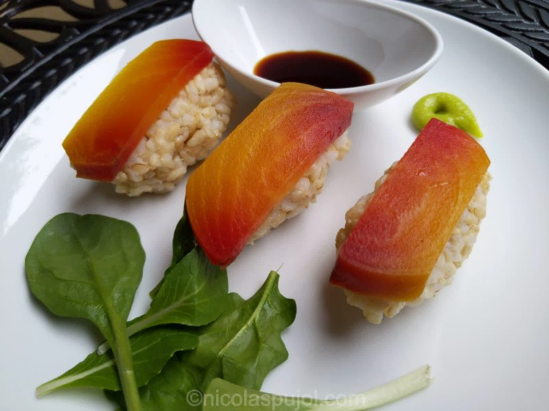 Vegetable sushi with beets and greens