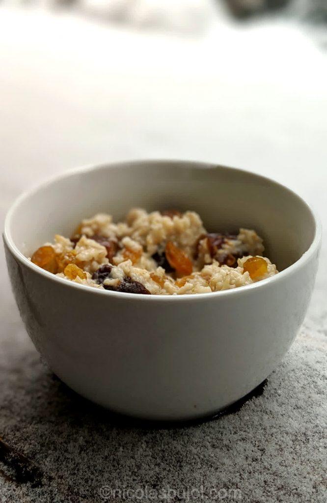 Warm breakfast oatmeal for winter weather