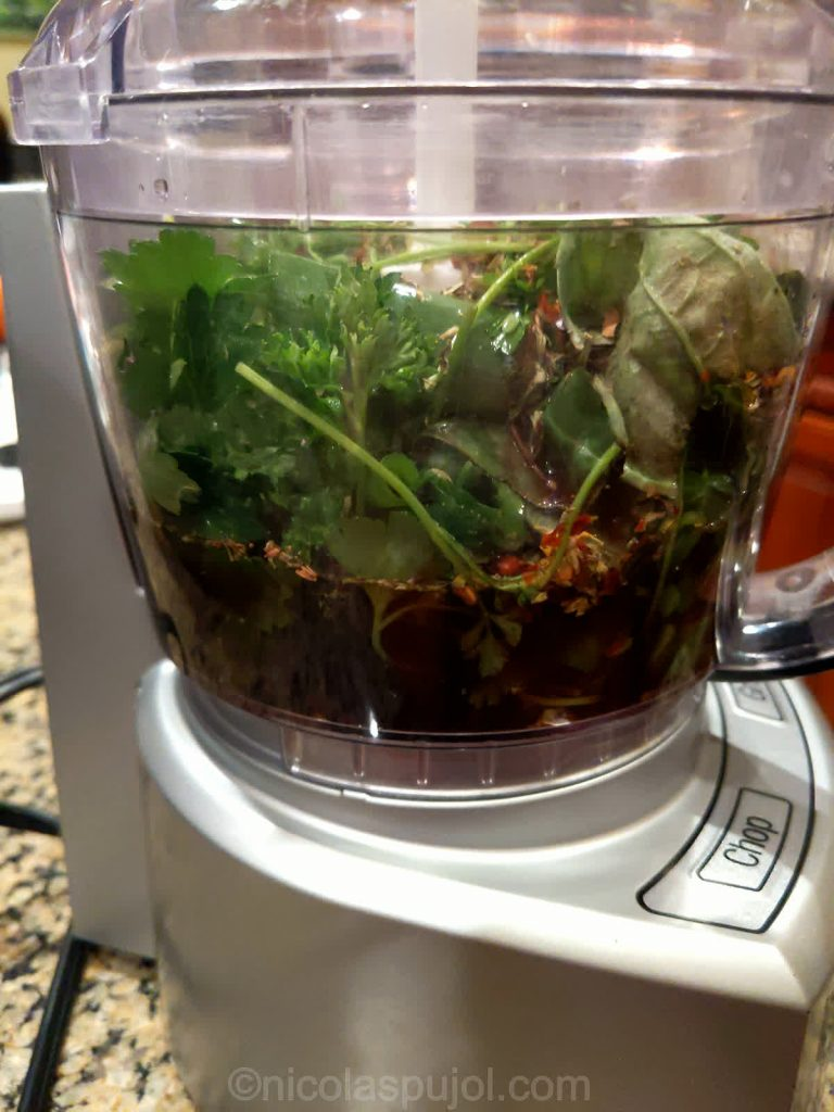 Chimichurri sauce without oil in the mixer