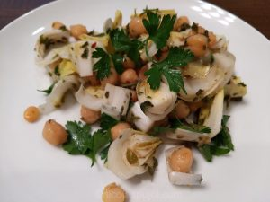 Endive garbanzo bean salad with chimichurri sauce without oil or salt