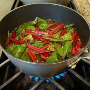 Boiling beet greens