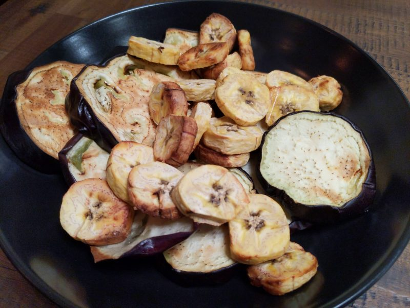 Eggplant and plantain bananas baked in air fryer without oil