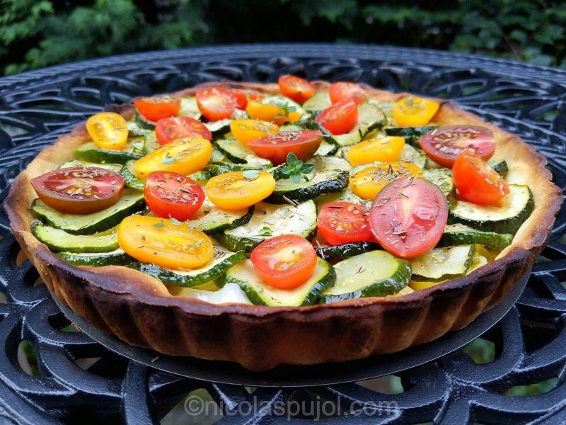 Homemade zucchini leek and tomato tart
