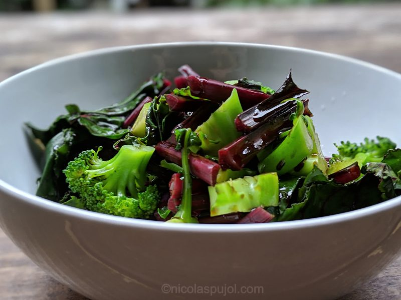 Oil-free dressing with steamed or boiled chard and broccoli