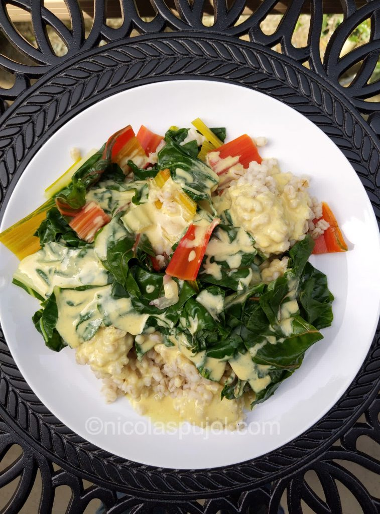 Oil-free spicy chard with barley-recipe