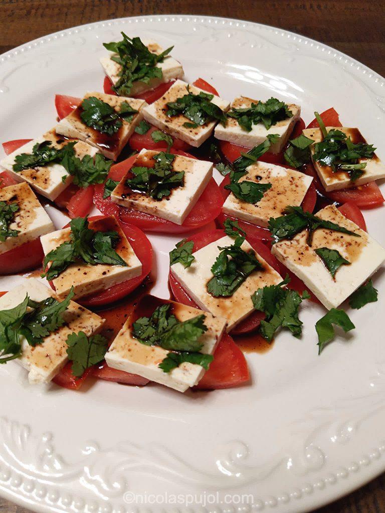 Oil-free tofu caprese salad