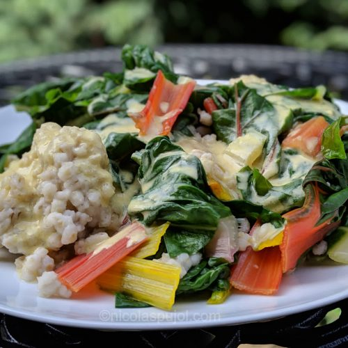 Rainbow chard over barley with oil-free lemon dressing