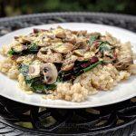 Rice with mushrooms, beet greens and lemon sauce