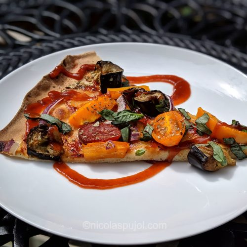 Vegan BBQ pizza with bell peppers