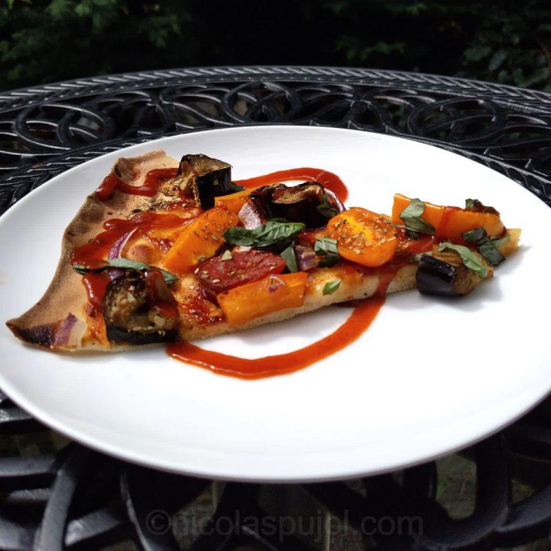 Vegan eggplant bell pepper BBQ pizza (no oil) with Sriracha sauce