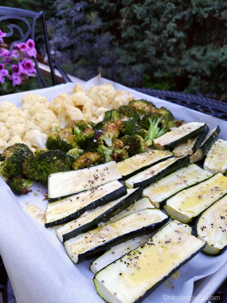 Baked cauliflower zucchini and broccoli