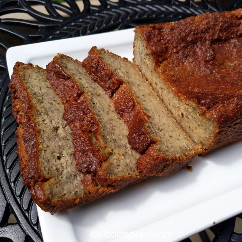 Gluten-free vegan banana cake with all natural ingredients