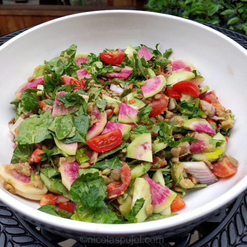 Oil-free lentil salad